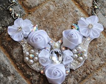 Bridal Swarovski Crystal Bib Necklace