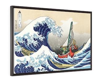 Zelda Framed Canvas - Wind Waker Great Wave off Kanagawa - Legend of Zelda - Gallery Wrap Framed Canvas