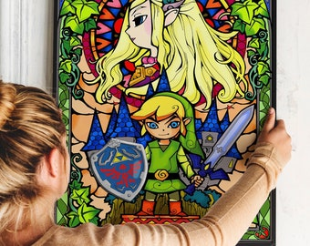 Zelda Poster - Stained Glass Art Like Print  - Legend of Zelda