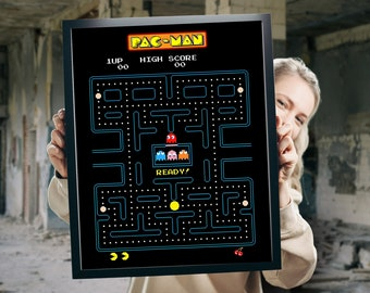 PacMan Game Poster - Namco 80's party decoration - Retro decor - Pac-Man gaming room props - Man Cave - Student Dorm