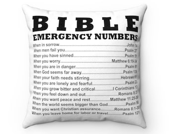 Bible Emergency Numbers Square Pillowcase
