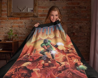 DOOM Blanket - PC Video Game Throw Blanket Replica - Multiple Sizes - Gamer Gifts - Retro Poster - Old School - Geeky 90's