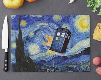 Doctor Who TARDIS Cutting Board - Van Gogh Starry Night Inspired - Home Decor - Whovians Fandom Gift - TV Series