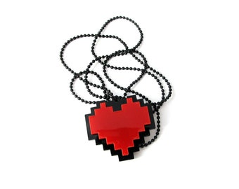 Undertale Necklace - Pixel Heart - cosplay of Frisk chain