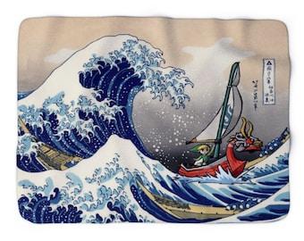 Legend of Zelda Blanket - Wind Waker The Great Wave of Kanagawa - soft blanket - Fandom Gift