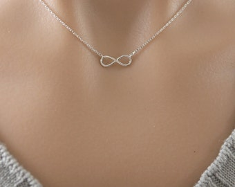 Infinity Necklace in Silver/ Gold. Petite Infinity Necklace. Collar Bone Necklace. Everyday Wear. Love Gift. Unisex Gift (PNL-77)