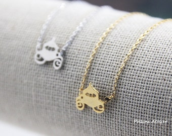 Princess Carriage Necklace in Silver/ Gold. Fairy Tale Necklace. Pumpkin Carriage. Cute and Sweet. Gift For Girls (PPNL-189)