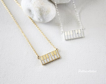 Piano Keyboard Necklace in Silver/ Gold. Sweet and Cute. Everyday Wear. Musician. Art. Pianist. Song. Gift For Her (PNL-166)