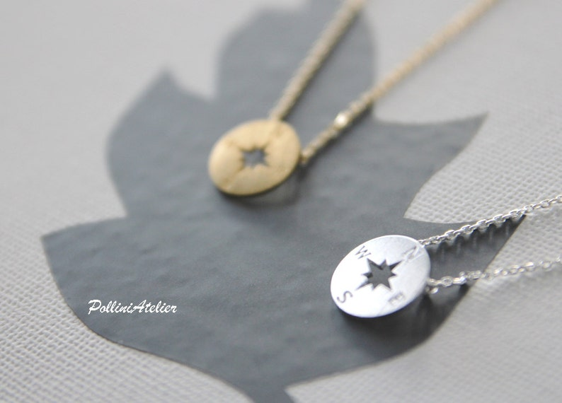 Compass Necklace in Gold / Silver. Collarbone Necklace. Charm image 0
