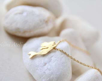 Mermaid Necklace in Matte Silver/ Gold. Fairytale. Collar Bone Necklace. Everyday Wear. Gift For Her (PNL-208)