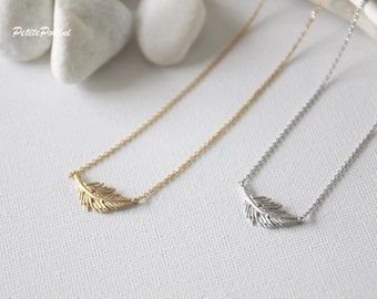 Feather Necklace in Silver/ Gold. Collar Bone Necklace. Everyday Wear. Gift For Her (PNL-76)
