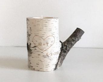 Bougeoir bois bouleau blanc - sculpté coeur & initiales, bougie personnalisée, cadeau d'anniversaire, cadeau d'anniversaire de 5 ans, bougie rustique