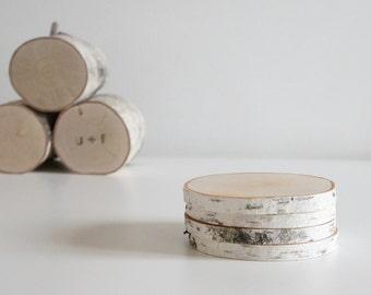 sous-verres en bois bouleau blanc - lot de 4 sous-verres de bouleau, sous-verres en bois, sous-verres rustiques, journal des dessous de verre, de bois tranche sous-verres