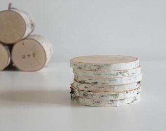 sous-verres en bois bouleau blanc - lot de 6, sous-verre rustique moderne, tranche de bois dessous de verre, dessous de verre arbre branche