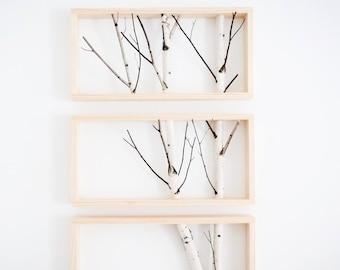 art de mur forêt bouleau blanc, décor de branche de bouleau, bûche de bouleau, Tenture murale, décoration murale rustique moderne, art encadré merisier