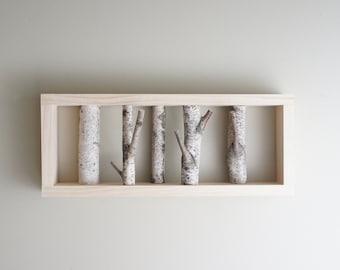 art de mur forêt bouleau blanc - branche de bouleau, bûche de bouleau, Tenture murale, décoration murale rustique moderne, encadrée de bouleau art