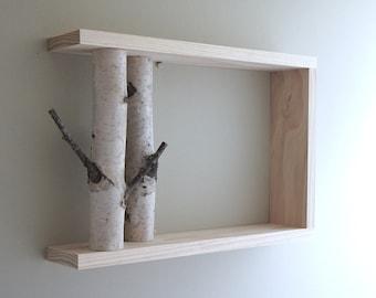 Forêt de bouleaux blanc Art/étagère murale - 18 x 12, étagère en merisier, plateau en bois, encadré merisier art, floating tablettes, étagères, boîte d'ombre