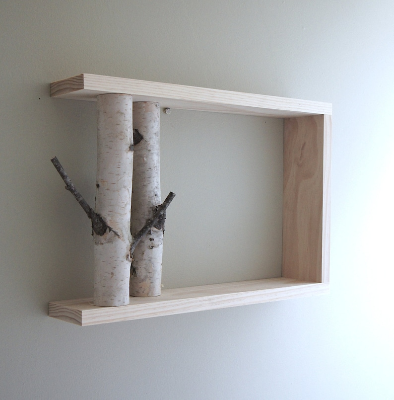 White Birch Forest Wall Art/Shelf   18x12, Birch Shelf, Wooden Shelf,  Framed Birch Art, Floating Shelves, Display Shelves, Shadow Box