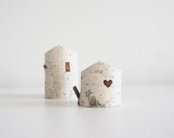 bouleau blanc maisons dans les arbres - lot de 2, coeur, cadeau de Saint Valentin, petite maison en bois, décor à la maison d'hiver, rustique moderne, fée maison