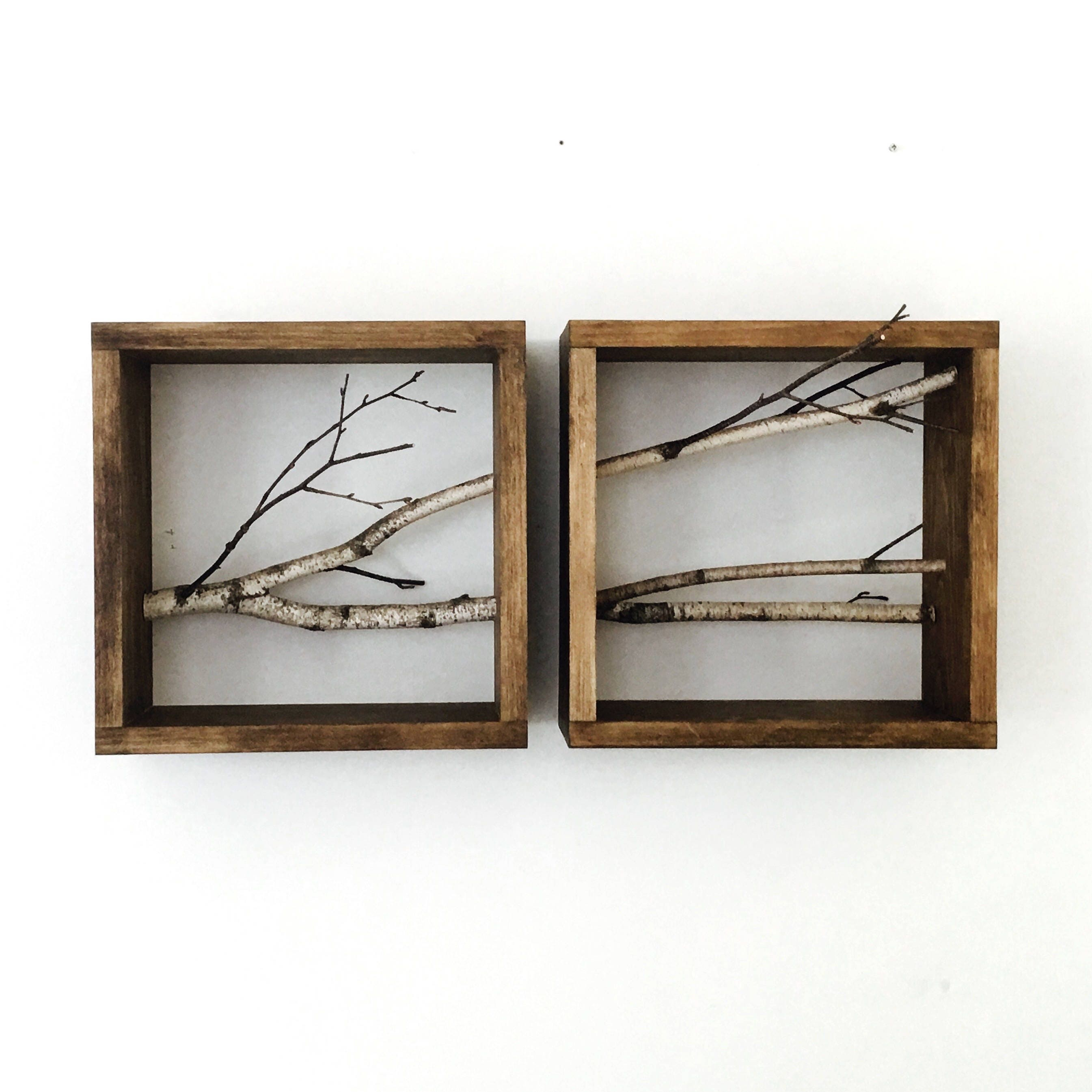 weiß Birkenwald Kunst/Wandregal-Set aus 2 Horizontal   Etsy