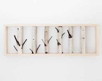 white birch forest wall art - 36 x 12, birch branch decor, birch log, wall hanging, modern rustic wall decor, framed birch art