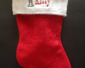 Personalized Cat Stocking Red and White Plush Christmas Stocking -FREE SHIPPING
