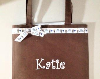 Personalized Tote Bag, Brownie Scout Ribbon Trim, Free Monogram, Free Shipping!
