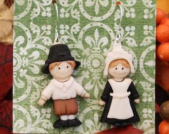 pilgrim earrings, thanksgiving earrings, fall earrings, pilgrim jewelry, autumn earrings, gifts under 25, thanksgiving pilgrims, cute gifts