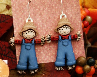 scarecrow earrings, thanksgiving earrings, fall earrings, holiday earrings, fall jewelry, scarecrows, Autumn jewelry, fall gifts under 10
