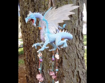 Dragon stained glass wind chime ice dragon sun catcher