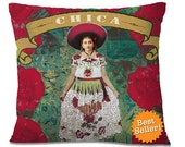 Mexican CHICA Accent Pillow Cover Vintage Boho Design Southwest Decor Sustainable European Linen Backing