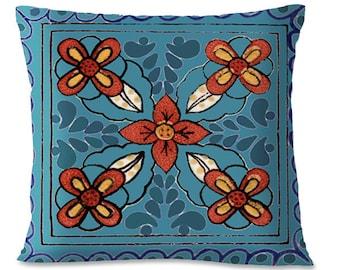 TALAVERA TILE  Pillow Cover - Turquoise - Mexican - Southwest - 16x16 - European Linen backing