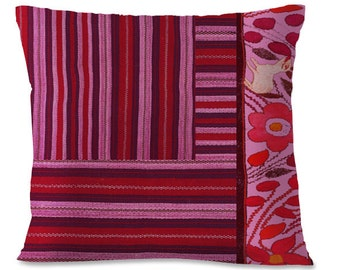 OAXACAN Folk Pillow Cover - Mexico - 16x16 - Southwest - Repurposed Folk Design - Purples - Pinks - European Linen backing