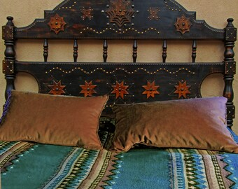 One of a Kind, tramp art and tacks Queen bed set by Todd Winkler