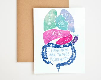 You Have My Whole Heart Card, Encouragement Gift, Self Care, Grateful For You, Nature Prints, One of A Kind, Gift for Men,  Meera Lee Patel