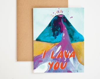 I Lava You Card, Valentine Love, Friend Gift, I Love You More, Watercolor Painting, Card For Boyfriend, Nature Prints, Meera Lee Patel