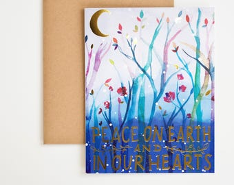 Holiday Card, Merry Christmas, Peace Sign, Hannukah Decor, Peace on Earth, Winter Onederland, Gift For Men, Seasonal Decor, Meera Lee Patel