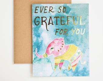 Gratitude Greeting Card, Thank You Card, Elephant Animal Print, Watercolor Art Print, Gift for Women, Gift-for-Mom, Nature, Meera Lee Patel
