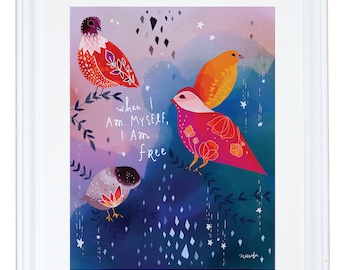 When I Am Myself, I Am Free, Fearless Girl, Watercolor Art Print, Childrens Decor, Meera Lee Patel