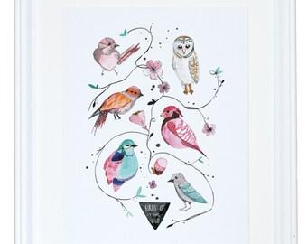 Birds of the Wild, Watercolor Art Print, Nature Painting, Meera Lee Patel
