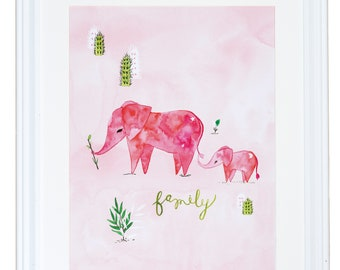 Family Art, Elephant Decor, Watercolor Art Print, Animal Painting, Meera Lee Patel