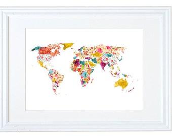 World Map Wall Art, Floral Wallpaper, Watercolor Painting, Meera Lee Patel