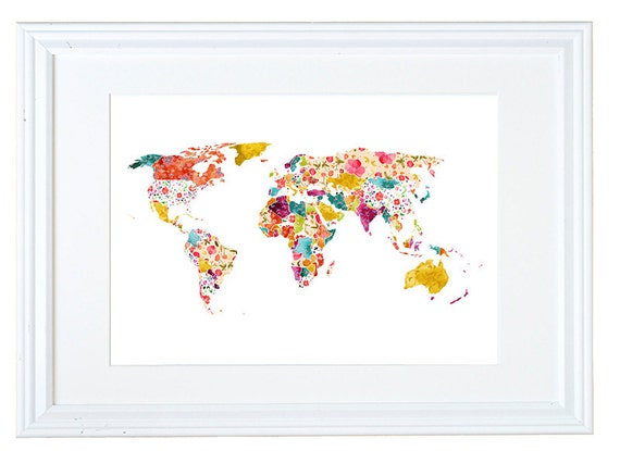 World Map Wall Art Floral Wallpaper Watercolor Painting