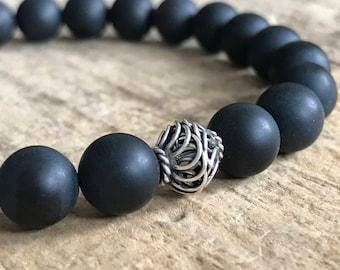 Black Onyx Bracelet for Men, Beaded Bracelet, Gemstone Bracelet Homme, Stretch Bracelet, Minimalist Bracelet, Black Beads, 8mm Beads