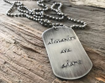 Rustic Necklace, Men's Custom Stainless Steel Dog Tag Necklace, Dad Necklace, Personalized Gift, Dog Tag Jewelry