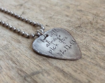 Stainless Steel Guitar Pick Necklace, Electric Guitar, Rustic Guitar Pick, Musician Necklace, Guitarist Necklace, Personalized Gifts
