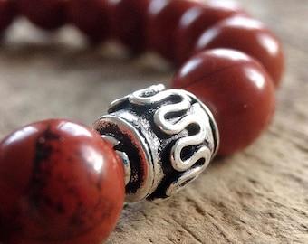 Red Jasper Bracelet, Beaded Bracelet, Gemstone Bracelet for Men, Bohemian Jewelry, Red Jasper, Yoga Bracelet, Stretch Bracelets, 8mm Beads