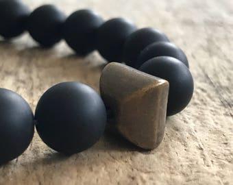 Matte Black Onyx Bracelet, Gemstone Bracelet, Men's Bracelet, Protection Strength Stone Stretch Bracelet, Black Bracelet