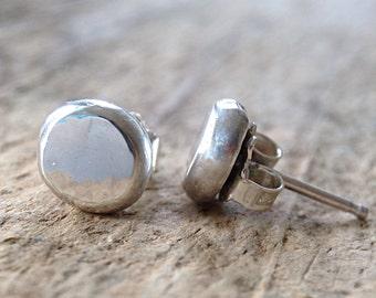 Flat Pebble Earrings, Sterling Stud Earrings, Post Earrings, 925 Sterling Silver Ball Earrings, Minimalist Earrings, Minimalist Jewelry
