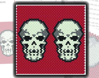 Beading Pattern: Skull Lighter Cover in Brick Stitch or Even Peyote with Red Gray Silver Black and White